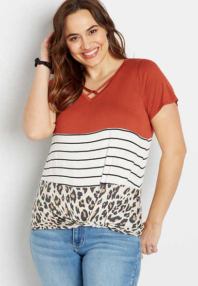 Plus Size 24/7 Stripe Leopard Blocked Strappy Neck Knot Hem Tee