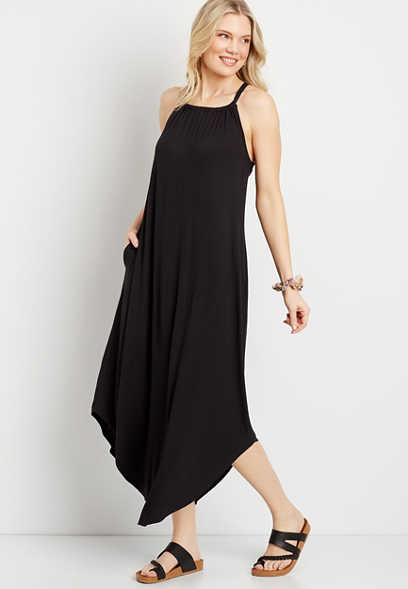 24/7 Black Halter Neck Pocket Maxi Dress