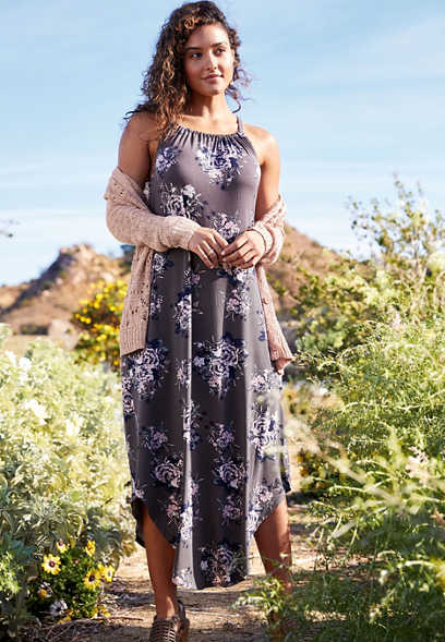 24/7 Gray Floral Halter Neck Pocket Maxi Dress