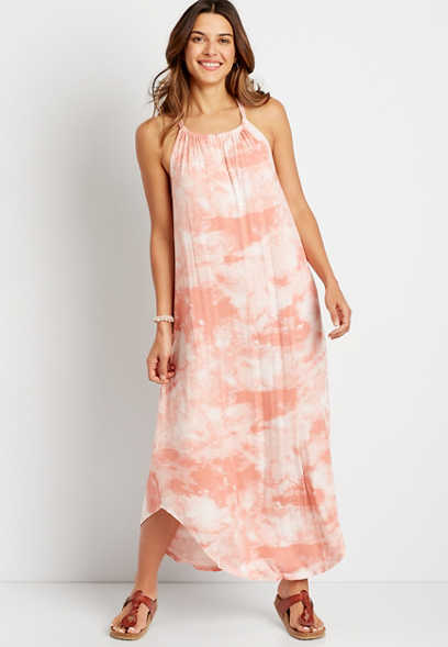 Light Pink Tie Dye Halter Neck Pocket Maxi Dress