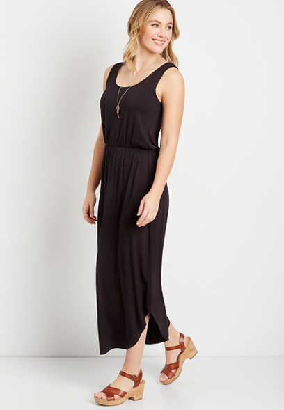 24/7 Black Sleeveless Maxi