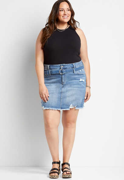 Plus Size KanCan™ High Rise Medium Wash Belted Skirt