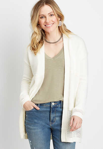 Soft White Open Stitch Cardigan