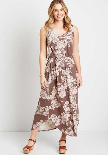 24/7 Brown Floral Sleeveless Maxi