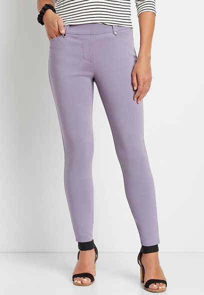 Lavender Bengaline Skinny Ankle Pant