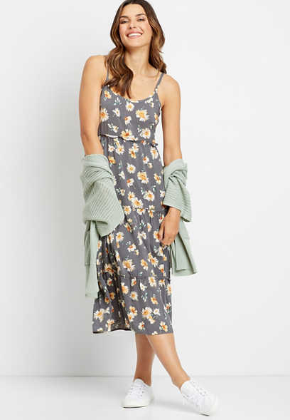 Gray Daisy Tiered Ruffle Midi Dress