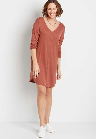 Solid Button Down Mini Shift Dress