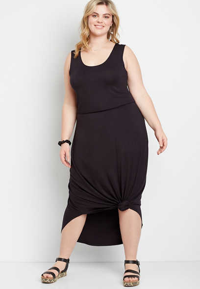 Plus Size 24/7 Black Sleeveless Maxi