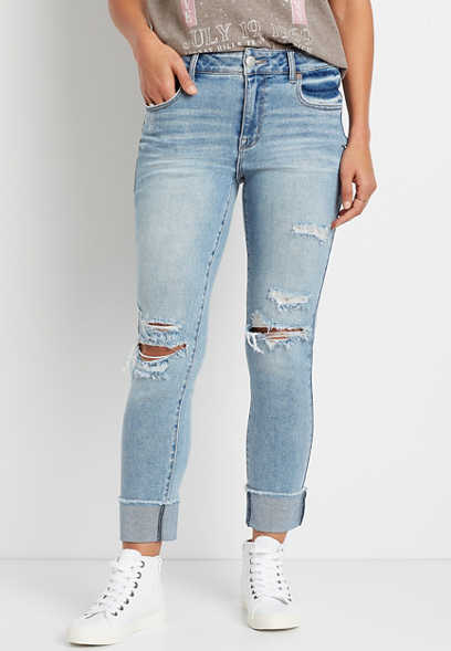 Vintage High Rise Light Ripped Slim Straight Leg Jean
