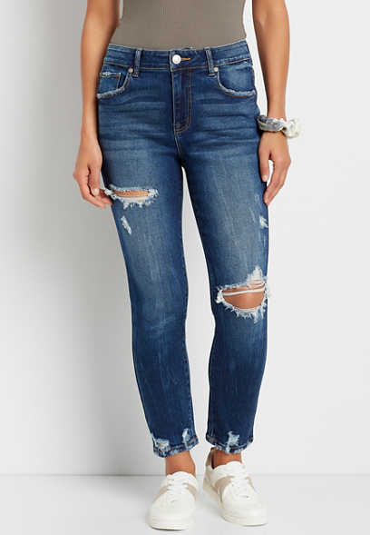 Vintage High Rise Dark Ripped Slim Straight Leg Jean