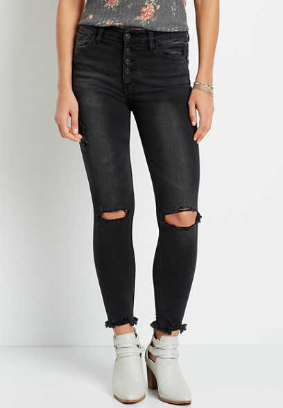 Vervet™ High Rise Black Destructed Button Fly Skinny Ankle Jean