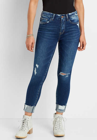 Vervet™ High Rise Dark Destructed Cuff Skinny Ankle Jean