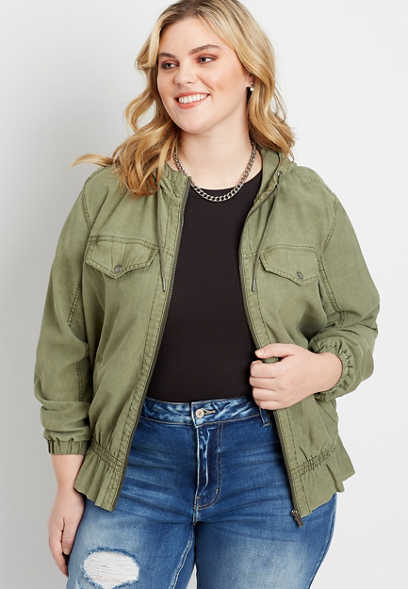 Plus Size Green Peplum Cropped Hooded Military Jacket