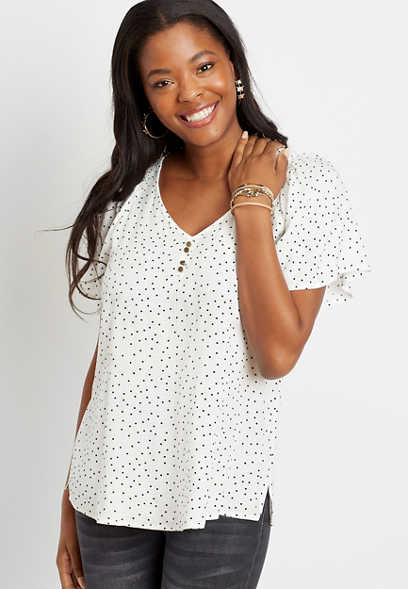 White Polka Dot Flutter Sleeve Button Front Top