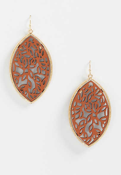 Framed Faux Leather Cutout Earrings