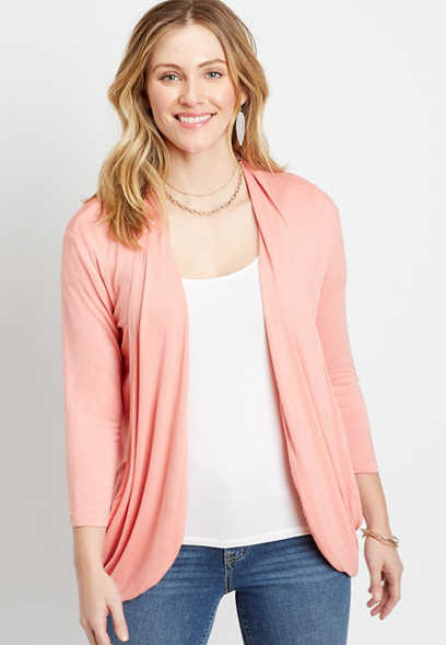 Pink 3/4 Sleeve Slouchy Pocket Cardigan