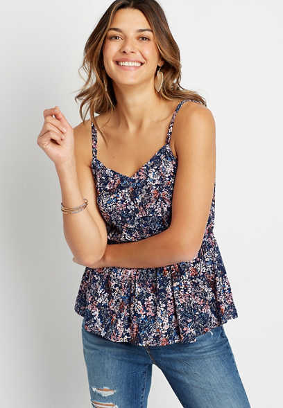 Blue Floral Ruched Peplum Tank