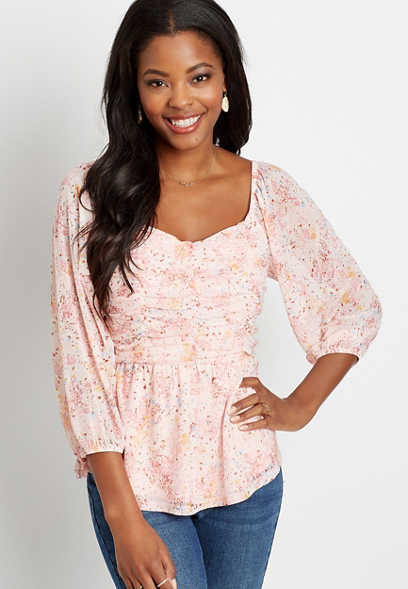 Pink Floral Mesh Ruched Sweetheart Top