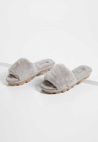 Sabrina Gray Faux Fur Slip On Slipper