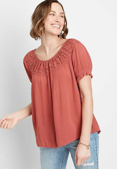 Eyelet Peach Short Sleeve Top