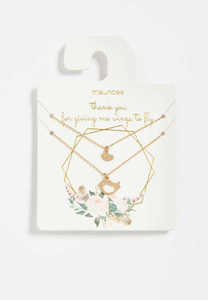 Dainty Mama Bird Necklace Set