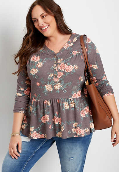 Plus Size Brown Floral Long Sleeve Henley Top