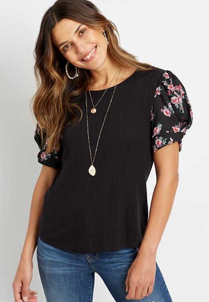 Black Floral Puff Sleeve Blouse
