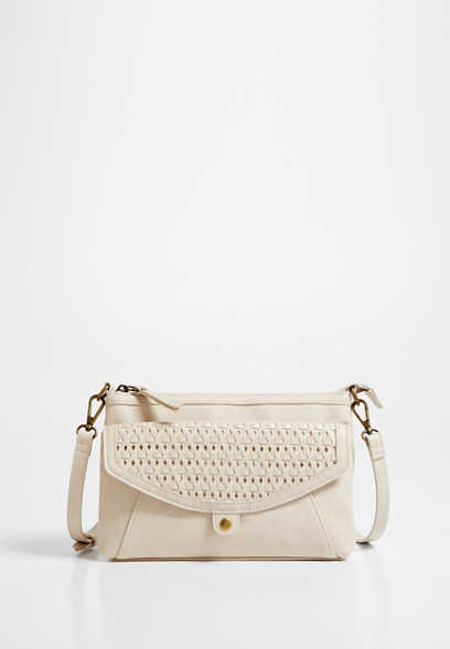 Cream Woven Crossbody Bag