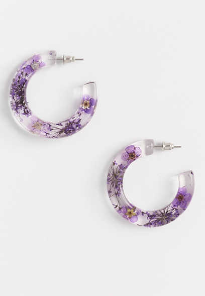 Purple Pressed Flower Hoop Earrings