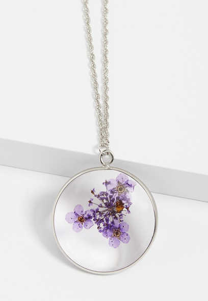 Purple Pressed Flower Pendant Necklace