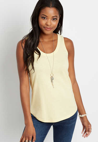 24/7 Yellow Scoop Neck Basic Tank Top