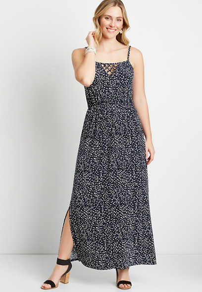 Blue Animal Dot Strappy Neck Maxi Dress