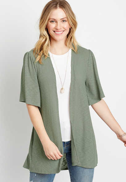 Olive Crochet Back Cardigan