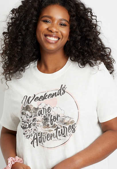 Plus Size Weekends Are For Adventures Oversized Graphic Tee