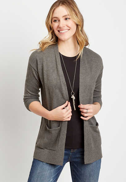 Solid Open Front Pocket Tunic Cardigan