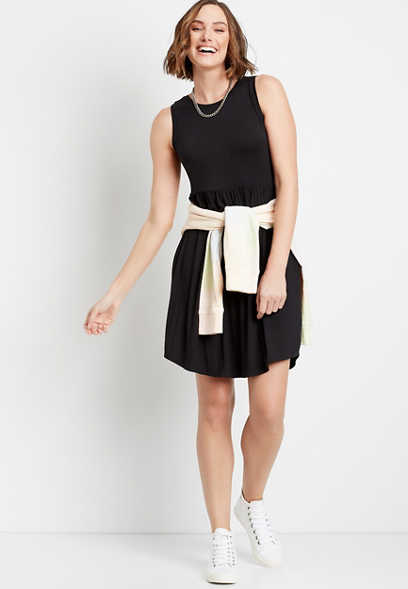 24/7 Black Empire Waist Pocket Dress