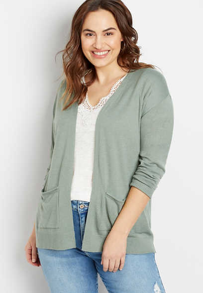 Plus Size Solid Open Front Pocket Tunic Cardigan