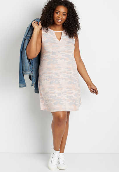 Plus Size 24/7 Camo Keyhole Shift Dress