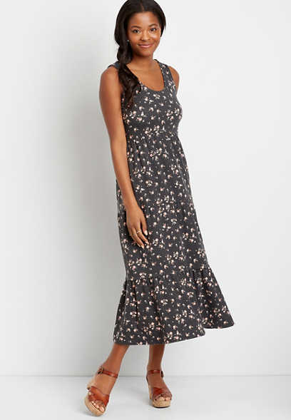 24/7 Dark Gray Floral Tiered Maxi Dress