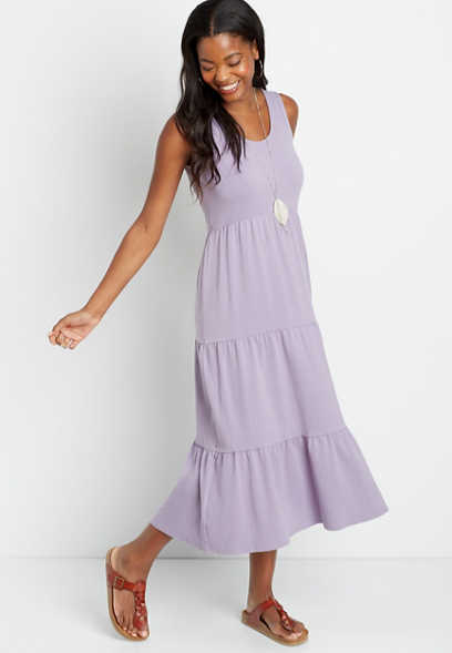 24/7 Lavender Tiered Maxi Dress