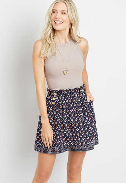 Blue Printed Mini Skirt