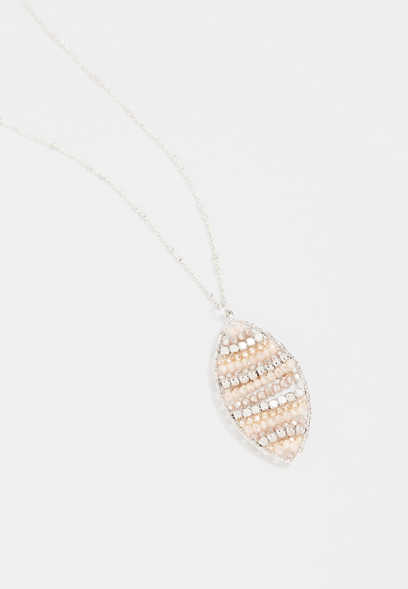 Silver Beaded Diamond Shape Pendant Necklace