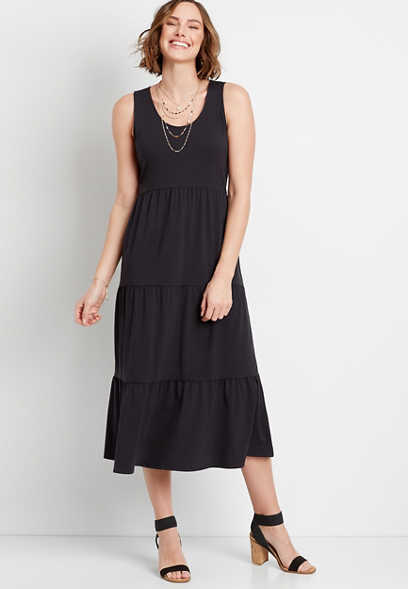 24/7 Black Tiered Maxi Dress