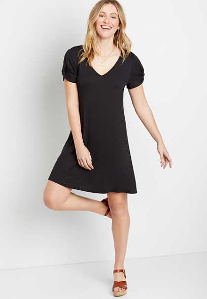 24/7 Black Twist Sleeve Shift Dress