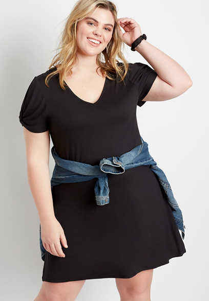 Plus Size 24/7 Black Twist Sleeve Shift Dress