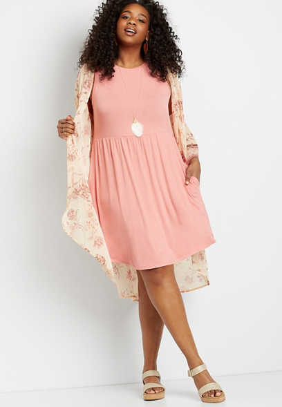 Plus Size 24/7 Pink Empire Waist Pocket Dress
