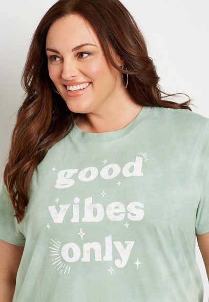 Plus Size Green Tie Dye Good Vibes Oversized Graphic Tee