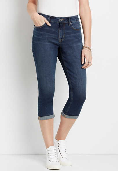m jeans by maurices™ High Rise Dark Curvy Capri