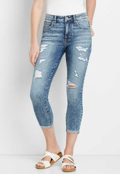 Everflex™ High Rise Light Ripped Cropped Jean