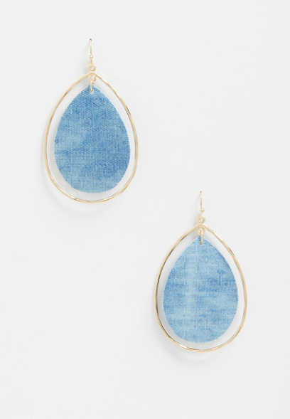 Blue Tie Dye Drop Earrings